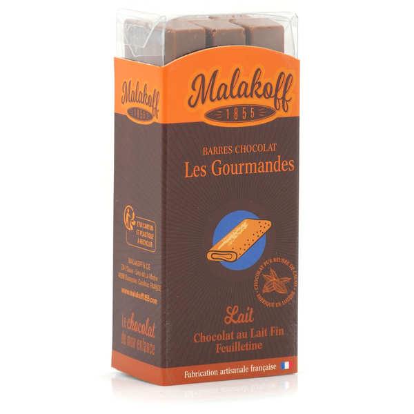 Malakoff & Cie Barres de chocolat Malakoff 1855 au lait fin et feuilletine sans emballage - Réglette de 6 barres de 20g