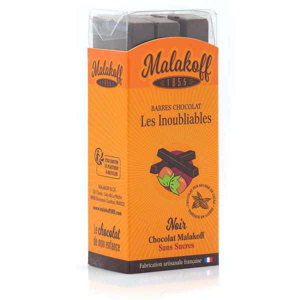 Malakoff & Cie Barres de chocolat noir sans sucre Malakoff 1855 sans emballage individuel - Réglette de 6 barres de 20g