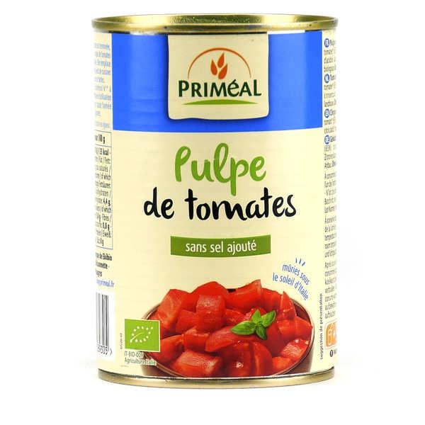 Priméal Tomates fraîches concassées bio - Boite 400g (240g net égoutté)