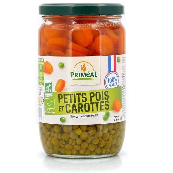 Priméal Petits pois & carottes en rondelles bio de France - Bocal verre 330g (215g net égoutté)