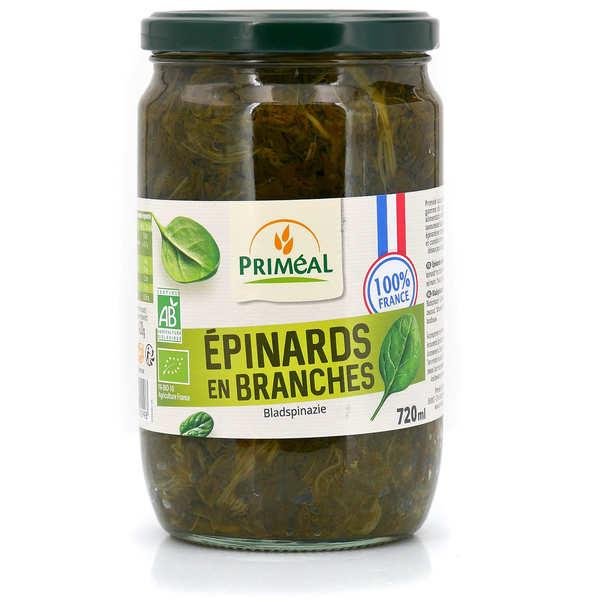 Priméal Épinards en branche bio de France - Bocal verre 720ml