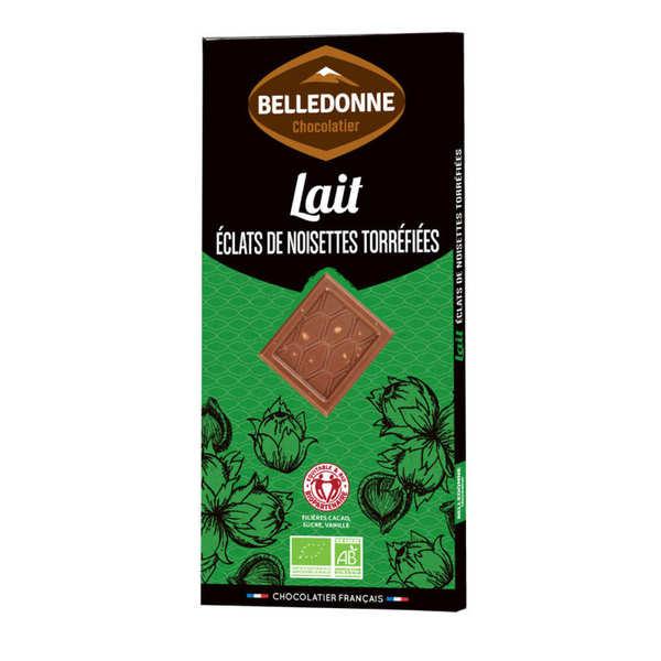 Belledonne Chocolatier Tablette de chocolat au lait et éclats de noisette bio - Une tablette 100g