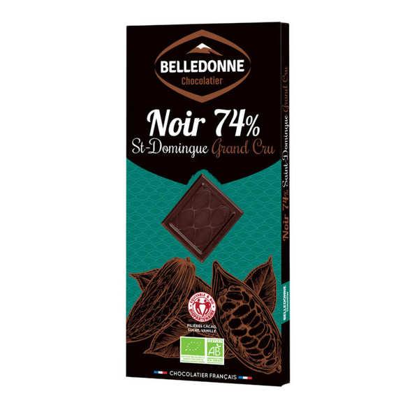 Belledonne Chocolatier Tablette de chocolat noir bio 74% St Domingue Grand Cru - Lot de 3 tablettes de 100g