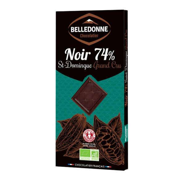 Belledonne Chocolatier Tablette de chocolat noir bio 74% St Domingue Grand Cru - Une tablette 100g