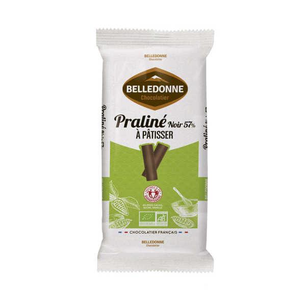 Belledonne Chocolatier Tablette de chocolat pâtissier praliné bio noir 57% - Une tablette 175g