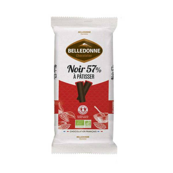 Belledonne Chocolatier Tablette de chocolat pâtissier bio noir 57% - Une tablette 175g