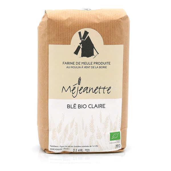 Moulin de la Borie Farine de blé bio claire (équiv. T110) - Farine de meule Méjeanette - Sac 1kg