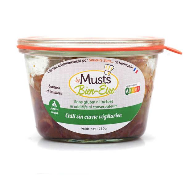 Les Musts Bien Etre Chili Sin Carne - plat cuisiné végan sans gluten et sans lactose - Pot de 250g