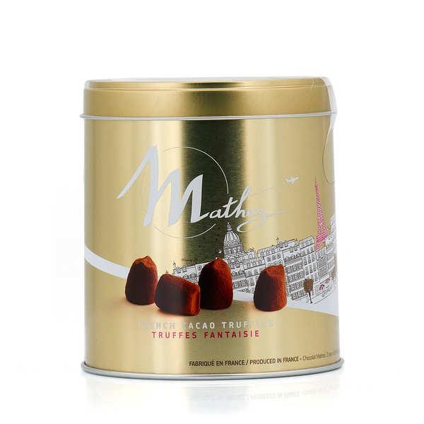 Chocolat Mathez Truffes Fantaisie nature en papillote individuelle - Boite métal 90g