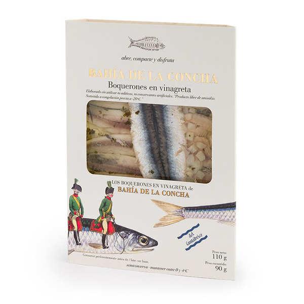 Bahia de la Concha Boquerones au vinaigre - Filets d'anchois marinés - Lot de 3 barquettes de 110g (poids net 90g)