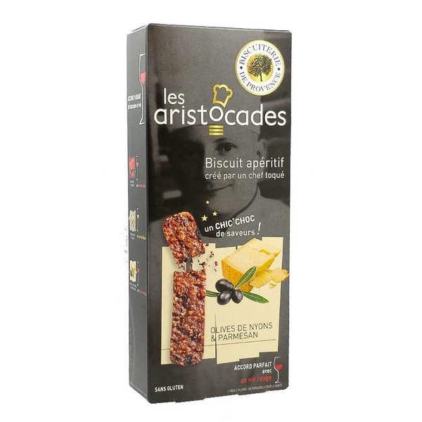 Biscuiterie de Provence Biscuit apéritif Olives de Nyons et Parmesan - sans gluten - Les Aristocades - Boite 65g (environ 28 biscuits)