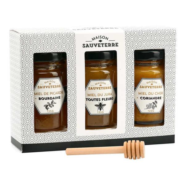 Maison Sauveterre Coffret cadeau 3 miels et cuillère à miel - Coffret cadeau 3x125g