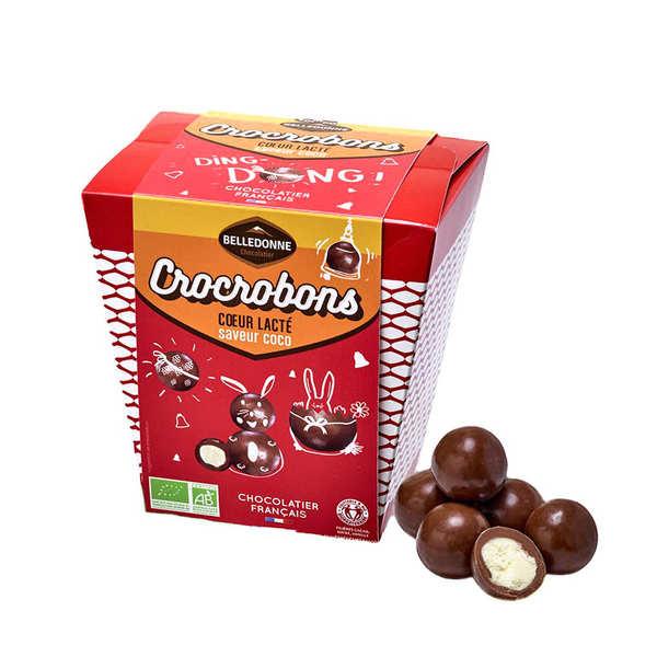 Belledonne Chocolatier Billes de chocolat au lait bio et cœur saveur coco - Sachet 160g (environ 23 billes)