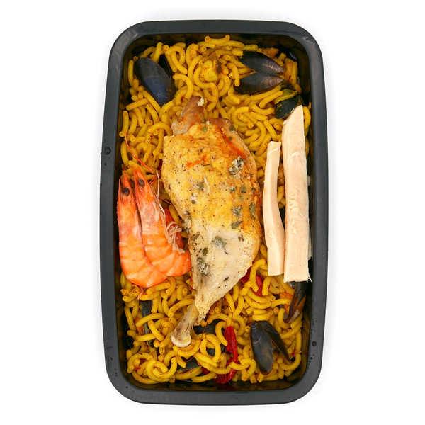 Viaule Traiteur Fiduea aux crevettes, seiche et poulet (paella aux pâtes) - Plat traiteur artisanal - La barquette de 550g (1 à 2 parts)