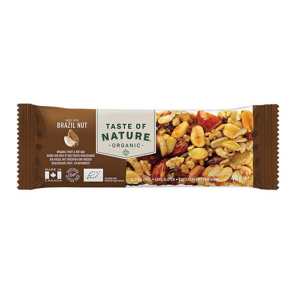 Taste Of Nature - Produits bio Barre bio aux noix du Brésil - Vegan et sans gluten - 4 barres (40g chacune)