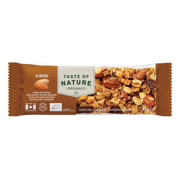 Taste Of Nature - Produits bio Barre bio aux amandes et graines - Vegan et sans gluten - 4 barres (40g chacune)