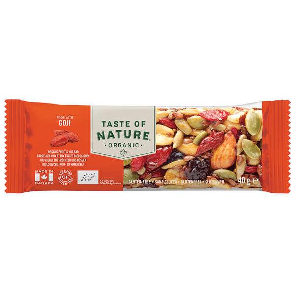 Taste Of Nature - Produits bio Barre bio aux baies de goji - Vegan et sans gluten - 8 barres (40g chacune)
