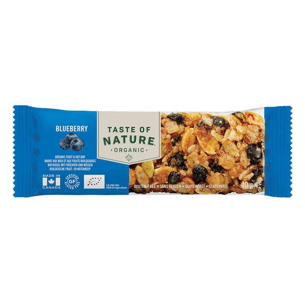 Taste Of Nature - Produits bio Barre bio aux myrtilles - Végan - 8 barres (40g chacune)