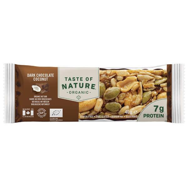 Taste Of Nature - Produits bio Barre bio au chocolat et noix de coco - Riche en protéines et sans gluten - 4 barres (40g chacune)