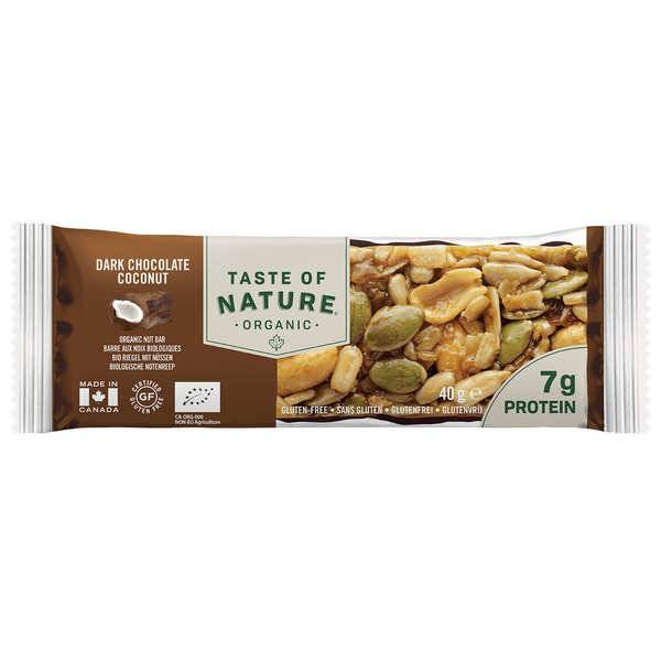 Taste Of Nature - Produits bio Barre bio au chocolat et noix de coco - Riche en protéines et sans gluten - 8 barres (40g chacune)
