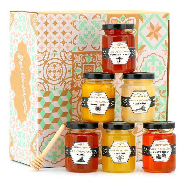 Maison Sauveterre Coffret découverte de 6 miels et cuillère à miel - Coffret 6x125g