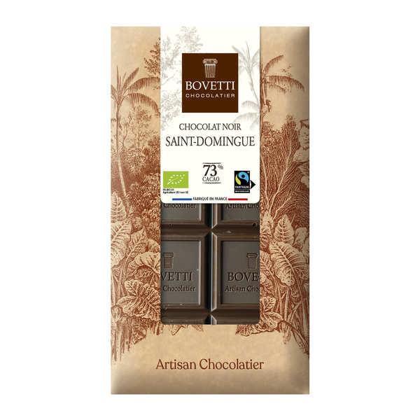 Bovetti chocolats Tablette chocolat noir bio équitable St Domingue 73% cacao - La tablette de 100g