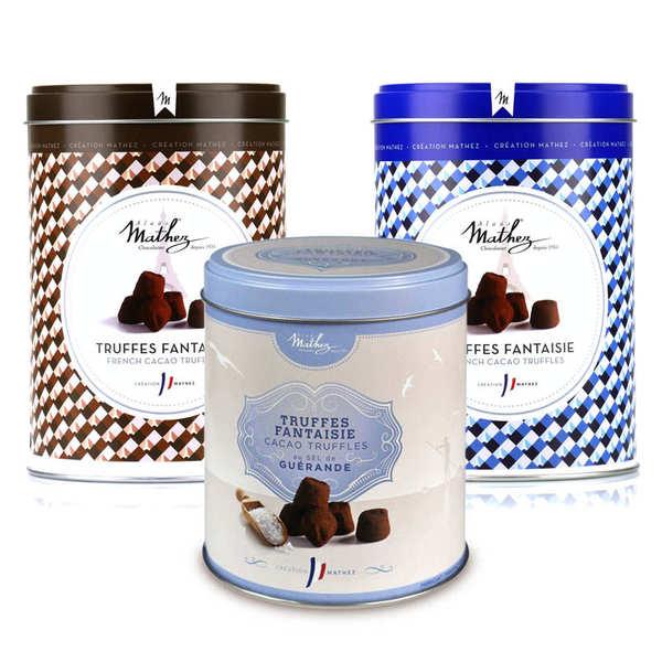 Chocolat Mathez Assortiment de truffes en chocolat Mathez - 2 boites de 500g et 1 boite de 250g