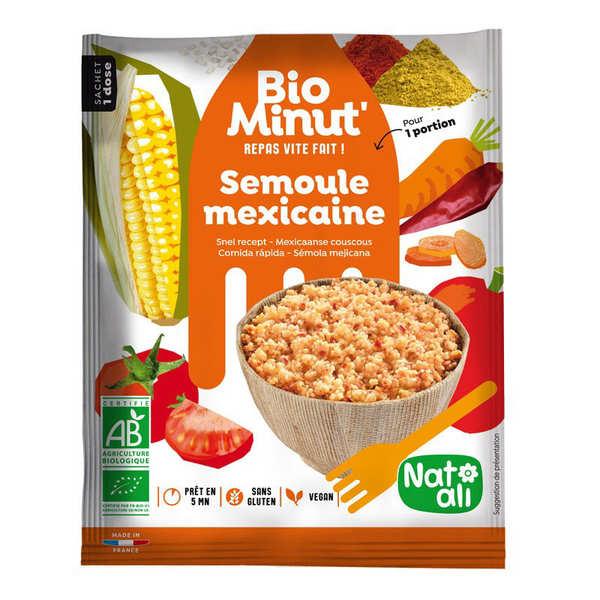 Nat-Ali BioMinut Semoule Mexicaine - repas rapide bio en sachet - 4 sachets