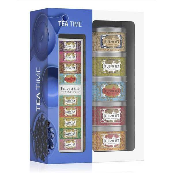 Kusmi Tea Coffret Tea Time - Kusmi Tea - Coffret 5 boîtes de 25 gr + pince à thé