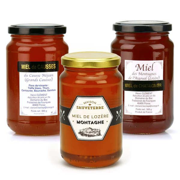 BienManger.com Assortiment de miels de Lozère - Lot de 3 miels