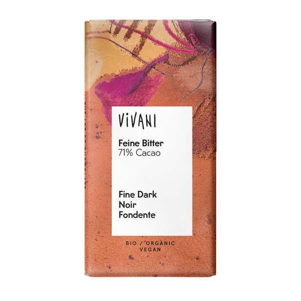 Vivani Chocolat noir bio et vegan 71% de cacao en mini-tablettes - Vivani - 5 mini-tablettes de 12,5g chacune