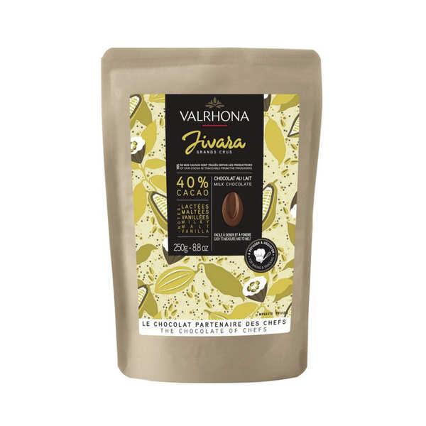 Valrhona Fèves de chocolat au lait à pâtisser Jivara 40% - Valrhona - Sachet kraft 250g