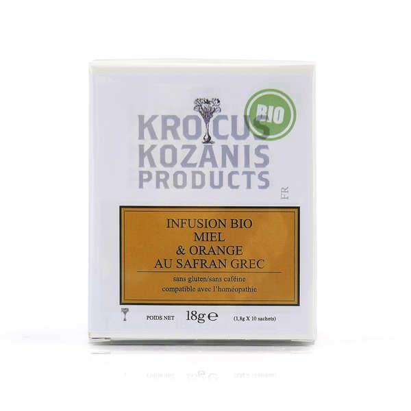 Krocus Kozanis Infusion bio au safran grec, au miel et à l'orange - Boite 10 sachets (40 tasses)