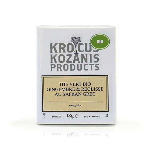 Krocus Kozanis Thé vert bio au safran grec AOP, réglisse et gingembre - Boite de 10 sachets (40 tasses)