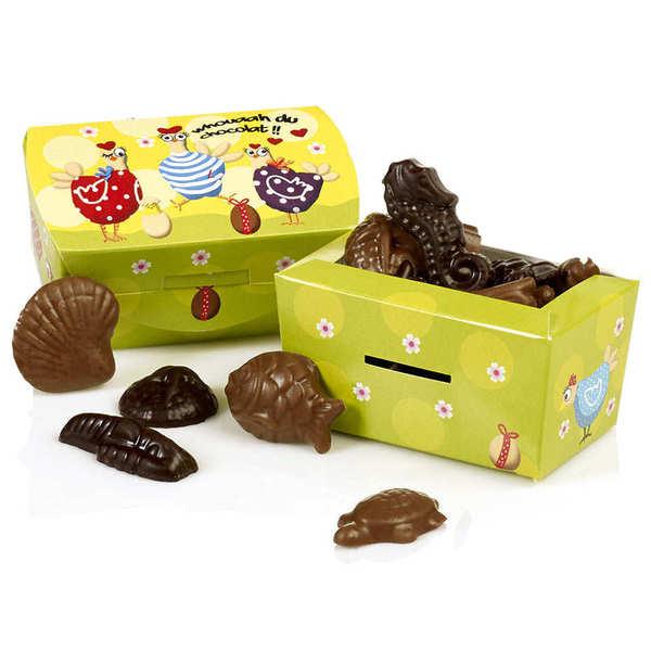 Maison Guinguet Petit ballotin de chocolats de Pâques friture assortie noire et lait - Boîte de 75g