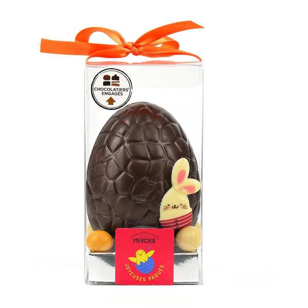 Maison Mercier Oeuf de pâques craquelé - Moulage garni en chocolat noir - Moulage de 150g