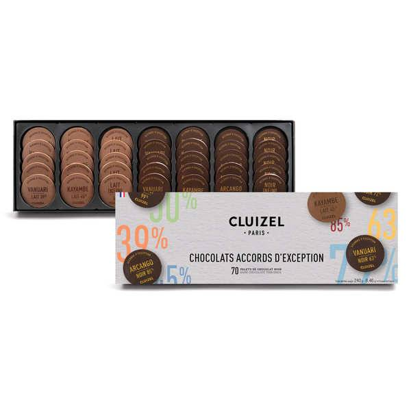 Michel Cluizel Nuancier de chocolats grandes teneurs en cacao de Michel Cluizel - 240g 70 palets