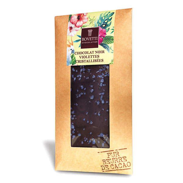 Bovetti chocolats Tablette chocolat noir fleur de violette - 3 tablettes de 100g