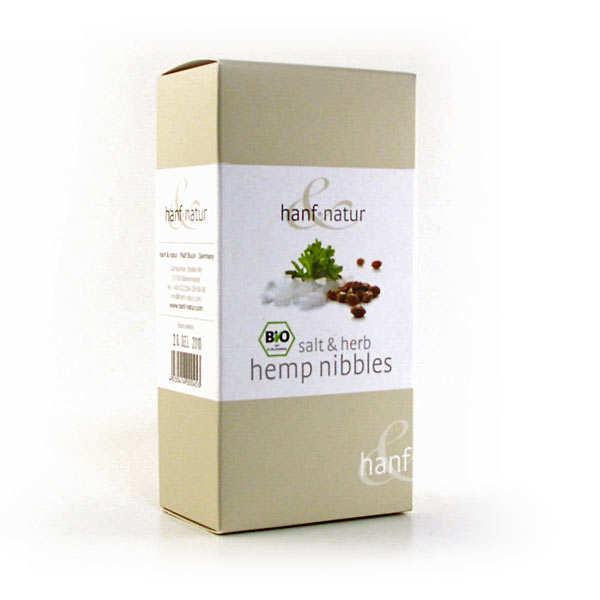 Hanf Natur Graines de chanvre grillées bio - sel et herbes - Boîte 100g