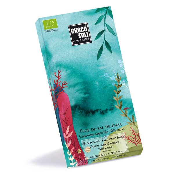 Chocolate Organiko Tablette de chocolat noir 70% à la fleur de sel d'Ibiza bio - 3 tablettes de 70g