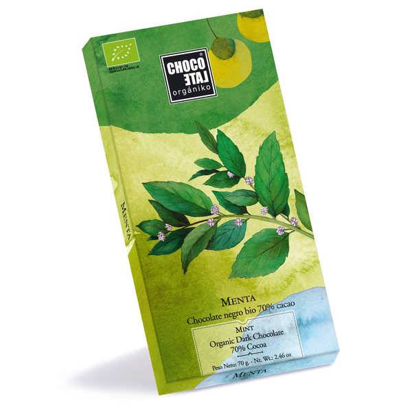 Chocolate Organiko Tablette de chocolat noir 70% et menthe bio - 3 tablettes de 70g