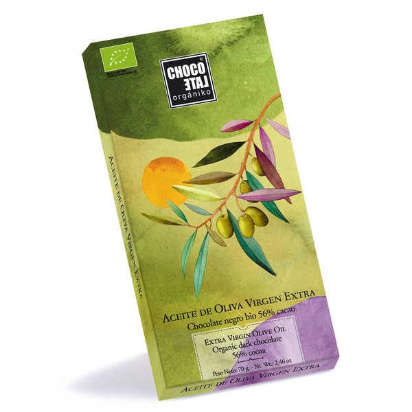 Chocolate Organiko Tablette de chocolat noir 56% à l'huile d'olive extra vierge bio - Tablette de 70g
