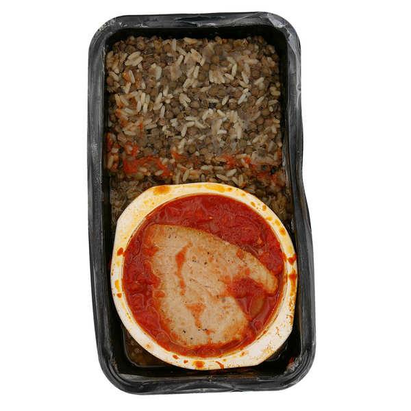 Viaule Traiteur Cabillaud sauce provençale et son riz aux lentilles - Plat traiteur artisanal - Barquette de 500g (1 à 2 parts)
