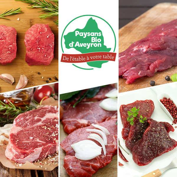 Paysans Bio d'Aveyron Colis de viande de jeune bovin Aubrac bio de l'Aveyron - En direct des producteurs - Le colis de 1,5kg env. (6x250g)