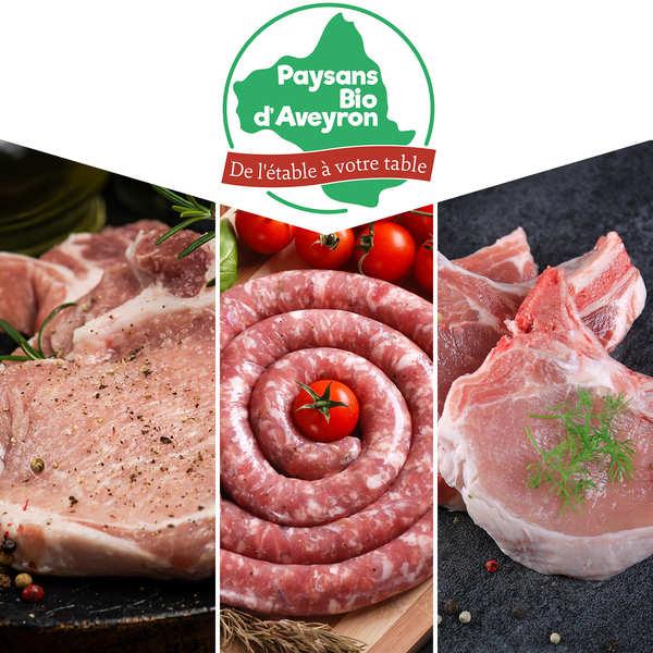 Paysans Bio d'Aveyron Colis de viande de porc bio de l'Aveyron - En direct des producteurs - 3 colis d'env. 1kg chacun