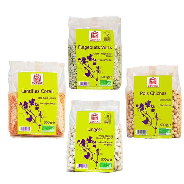 Celnat Assortiment de légumes secs bio - 4 sachets 500g
