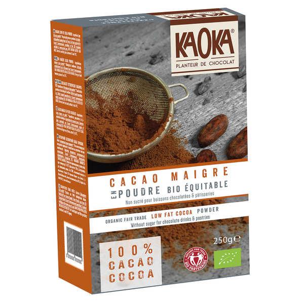 Kaoka Cacao en poudre dégraissé non sucré bio équitable - Lot de 3 paquets de 250g