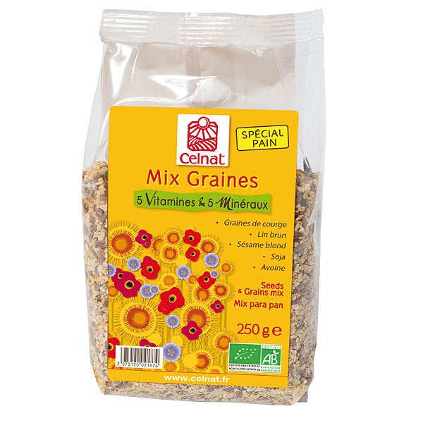 Celnat Mix graines bio - 5 vitamines & 5 minéraux - Sachet 250g
