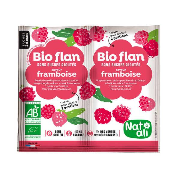 Nat-Ali Bio Flan parfum framboise sans sucres ajoutés - Lot de 5 x 2 doses de 4g