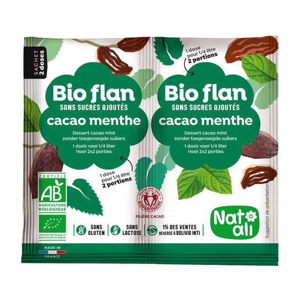 Nat-Ali Bio-flan parfum chocolat/menthe sans sucres ajoutés - Lot de 5 x 2 doses de 4g